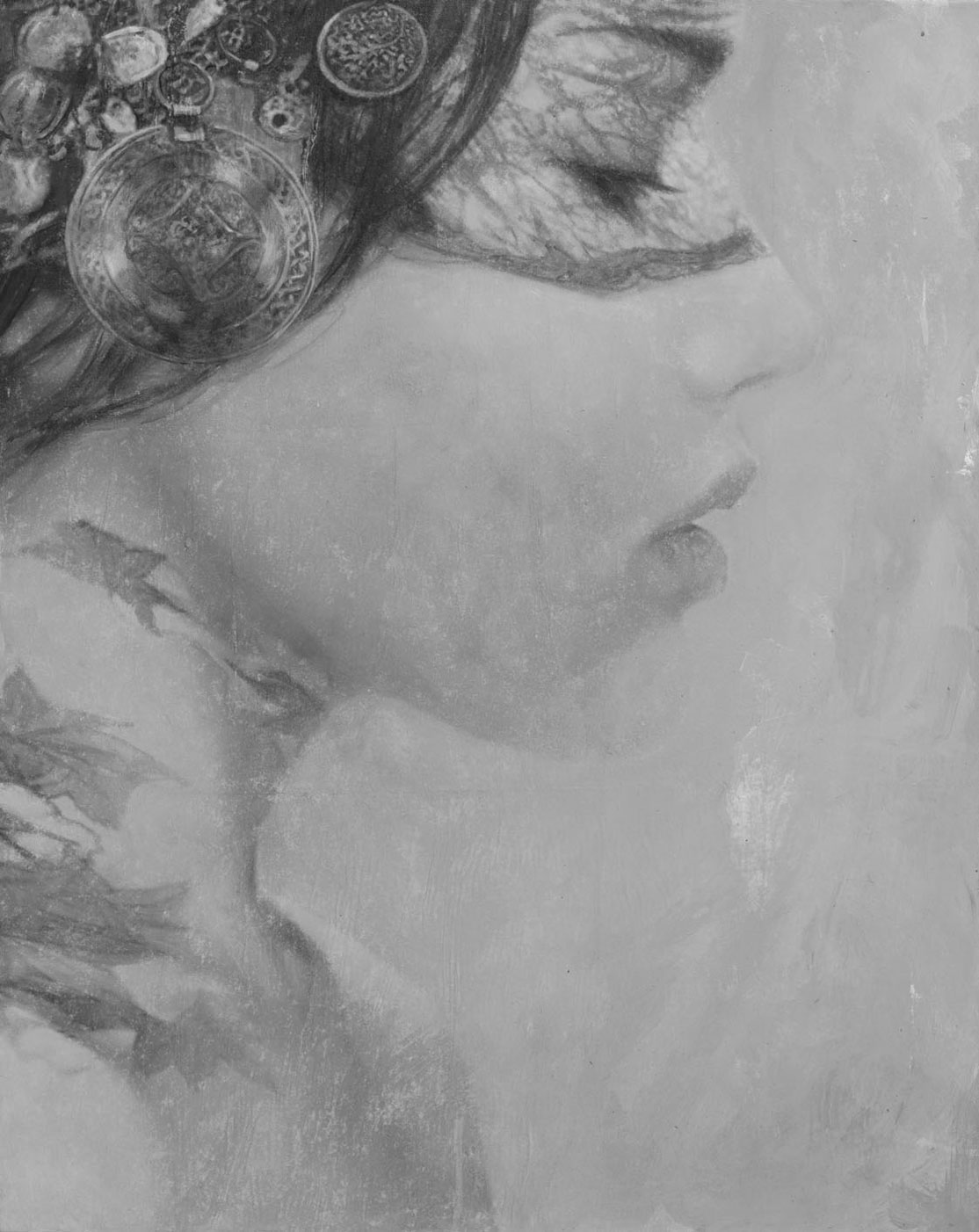 622P - 92 x 73 cm | Goddesses of Nibiru | Tinta, acrilico y oleo sobre lienzo