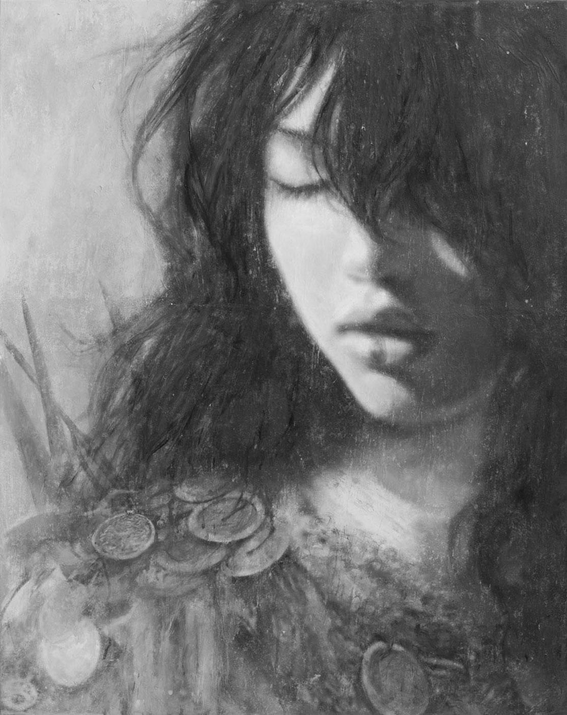 621P - 92 x 73 cm | Goddesses of Nibiru | Tinta, acrilico y oleo sobre lienzo