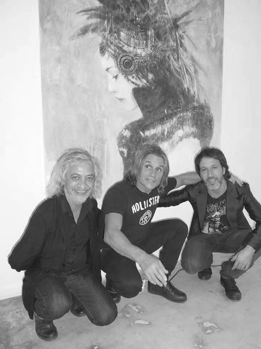 Luis Royo, Nacho Cano and Romulo Royo at the stand Gallery Kavachnina Contemporary of ART MIAMI fair