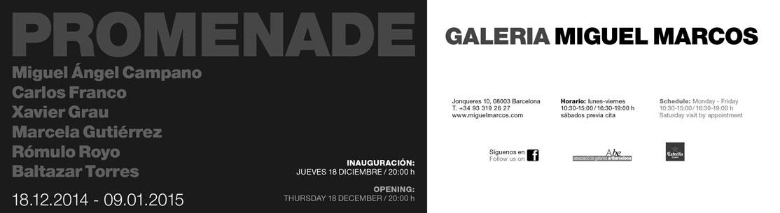 Invitación a la exposición Promenade, galería Miguel Marcos