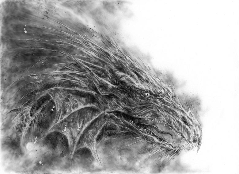 The Ice Dragon book, dragon sketch