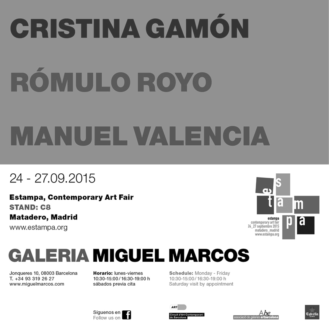 Miguel Marcos Gallery Invitation Card - Estampa Contemporary Art Fair 2015 Romulo Royo